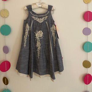 Chambray & lace trimmed sleeveless dress size 4/5